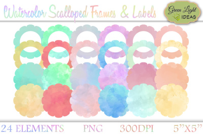 Watercolor Frames and Labels, Watercolor Clipart