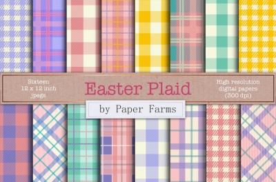 Easter Plaid digital paper
