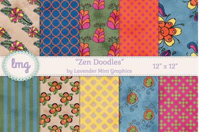 Zen Doodles Digital Scrapbook Paper