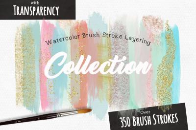 Watercolor Brush Stroke Layering Graphic Bundle