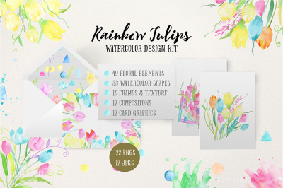 Watercolor Design Kit Rainbow Tulips