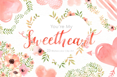 My Sweetheart Watercolor Clipart