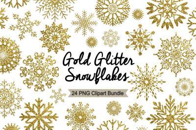 Winter Clipart - Gold Glitter