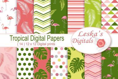 Pink Flamingo Digital Paper