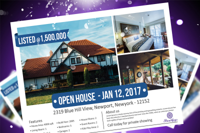 Real Estate Advertising Postcard - Editable in MS Word, Powerpoint, Publisher, photoshop - Advertising Marketing - Instant Download-KOR-024A