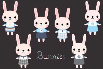 Cute bunny clipart, Pink Easter bunny clip art, Baby shower girl bunny clipart