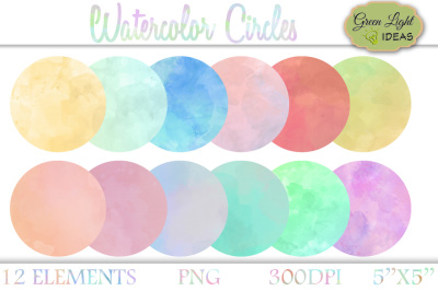 Watercolor Circles, Watercolor Clipart