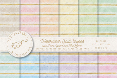 Watercolor Gold Stripes Digital Paper with Paint Spatter and Foil Effects