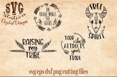 Boho Tribal / SVG DXF PNG EPS Cutting File Silhouette Cricut