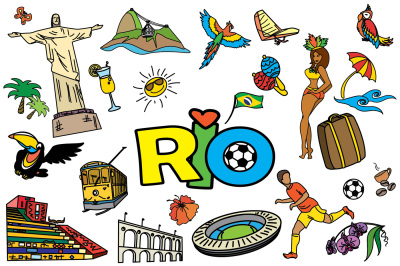 Cartoon SET Brazil and Rio