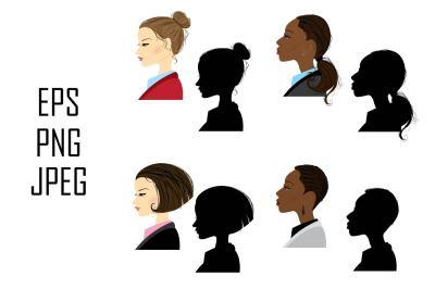 Set of 8 women in profile