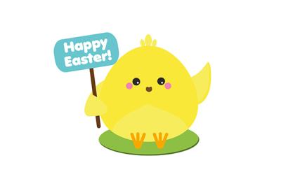 Cute kawaii yellow chicken holding greeting banner. Easter symbol