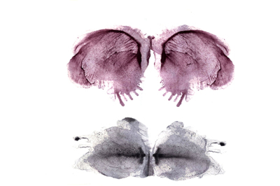 Artistic watercolor symmetric stains and shapes