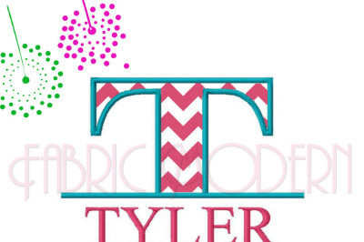 SPLIT MONOGRAM Embroidery Font Design, two sizes 5 and 6 inch, All letters,includes bx