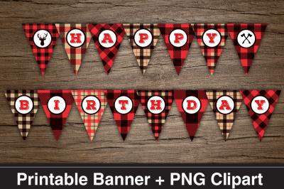 Lumberjack HAPPY BIRTHDAY Printable Banner & PNG Clipart Files.