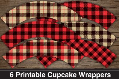 Lumberjack Party Printable Cupcake Wrappers / Cupcake Liners.