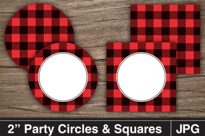 Lumberjack Party Printable Circles and Squares / Cupcake Toppers.