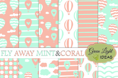 Hot Air Balloons Digital Papers, Mint and Coral Backgrounds