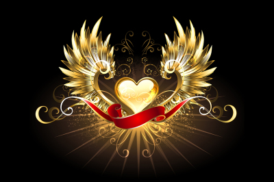 Golden Heart with Golden Wings ( Gold heart )