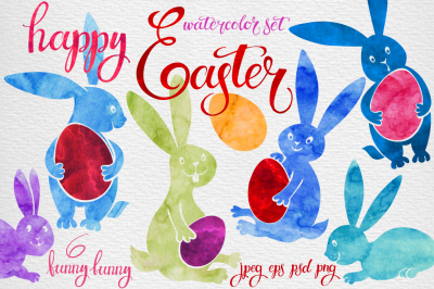 Happy Easter. Watercolor set with funny bunny .