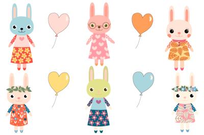 Cute bunny clipart, Girl bunny clip art, Easter rabbit, Baby shower clipart