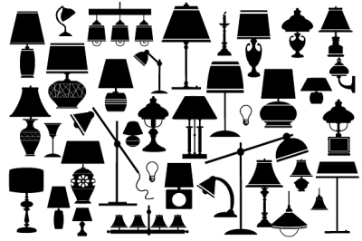 Silhouettes  electrical household  lamps JPG, PNG