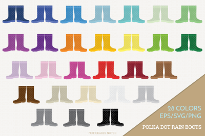 Polka Dot Rain Boots Illustration / Polka Dot Galoshes
