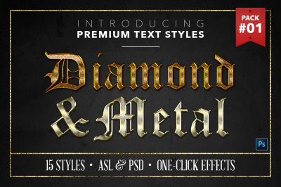 Diamond & Metal #1 - 15 Text Styles