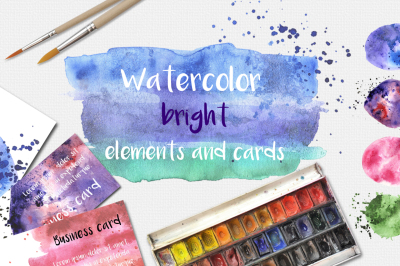 Watercolor blobs and cards