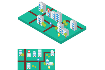 Abstract city map with gps signs. Flat and isometric