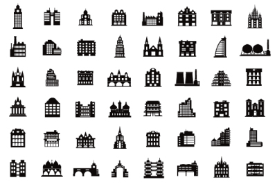 Silhouettes  icon city  houses PNG, JPG, building clipart, city icon, urban icon