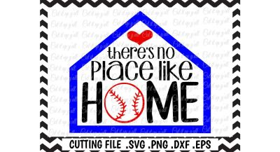 Baseball Svg, There's No Place Like Home Cutting Files, Svg, Png, Eps, Dxf, Cut Files for Cameo/ Cricut & More.