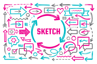 Hand Draw Sketch Doodles Design Elements