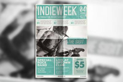 Indie rock newspaper flyer