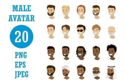 Cartoon male avatars collection
