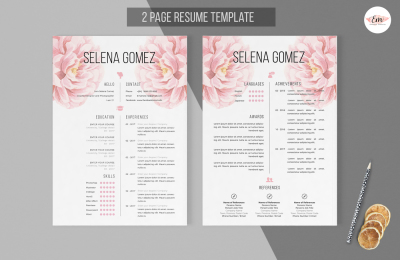 Elegant floral 2 page CV and Cover Letter template