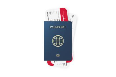 Passport and boarding pass tickets.