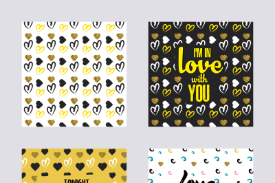 Set of backgrounds with valentine's day and Love Design. Applicable for Covers, Placards, Posters, Flyer and Banner Designs. Vector illustration