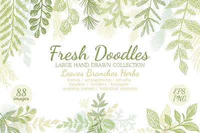 Leaves Branches & Herbs Fresh Doodle collection