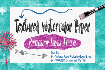 Textured Watercolor Paper Photoshop Styles
