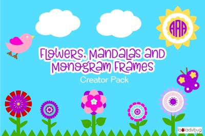 Flowers, mandalas and monogram frames creator pack.  $1 only for a limited time!!