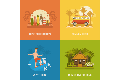 Surfing Travel Banners and Backgrounds