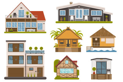 House and Homes Set. Apartments and Bungalows.