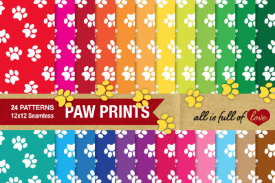 Paw print digital paper in rainbow colors Pet background patterns