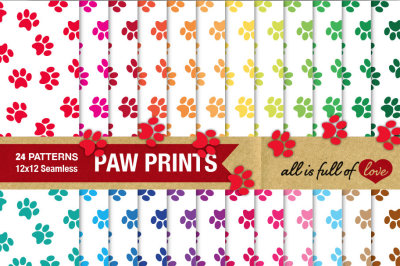 Paw Print Patterns Digital Background Paper