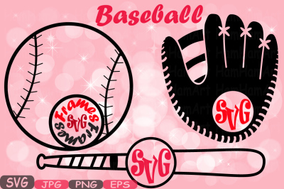 Baseball Circle SVG Mascot cutting files svg Baseball clipart silhouette t-shirt files for silhouette cameo cricut baseball mom dad 430S