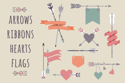 Vector set with ethnic arrows, ribbons, flags, hearts