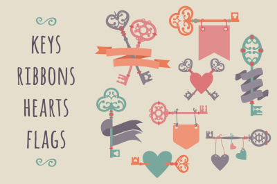 Vector set with vintage keys, ribbons and hearts.