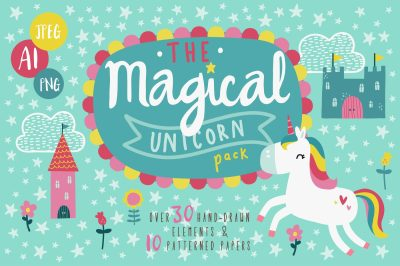 Magical Unicorn Clipart & Seamless Pattern Pack