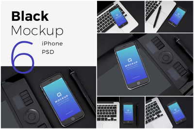 Black iPhone Mockups PSDs